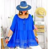 Tunique grande taille été dentelle romantique ZAZOU bleu royal Tunique été femme