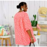 Tunique blouse été liberty grandes tailles PRIMO corail Tunique été femme
