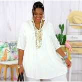 Tunique blouse été liberty grandes tailles PRIMO blanche Tunique été femme