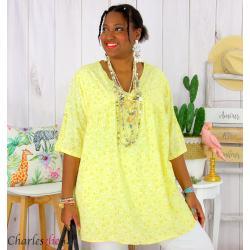 Tunique blouse été liberty grandes tailles PRIMO jaune Tunique été femme