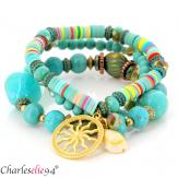 Bracelet 3 rangs perles verre résine breloques BRB3 Accessoires mode femme