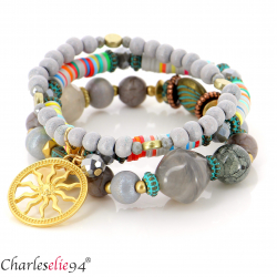 Bracelet 3 rangs perles verre résine breloques BRB4 Accessoires mode femme