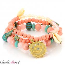 Bracelet 3 rangs perles verre résine breloques BRB5 Accessoires mode femme
