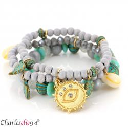 Bracelet 3 rangs perles verre résine breloques BRB6 Accessoires mode femme