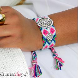 Bracelet manchette large tissé chevrons strass BRB7 Accessoires mode femme