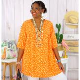 Tunique blouse été liberty grandes tailles PRIMO orange Tunique été femme