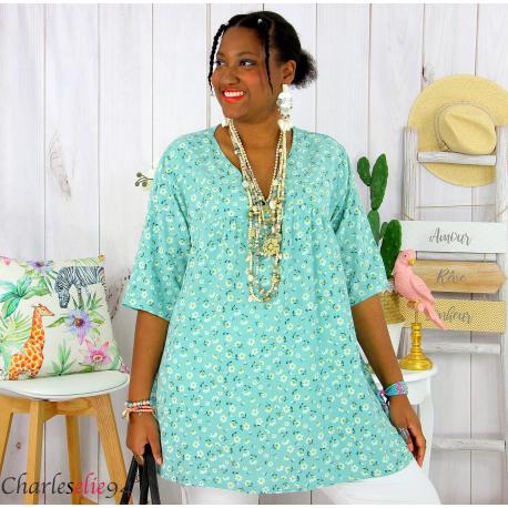 Tunique blouse été liberty grandes tailles PRIMO amande Tunique été femme