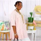 Tunique blouse été liberty grandes tailles PRIMO rose Tunique été femme