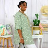 Tunique blouse été liberty grandes tailles PRIMO kaki Tunique été femme