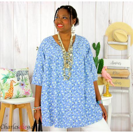 Tunique blouse été liberty grandes tailles PRIMO bleu jean Tunique été femme