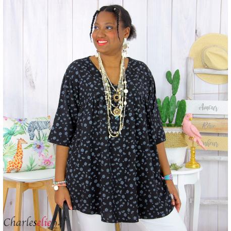 Tunique blouse été liberty grandes tailles PRIMO noir Tunique été femme