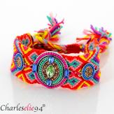 Bracelet manchette large tissé chevrons strass BRB8 Accessoires mode femme