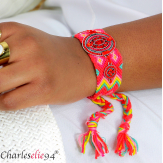 Bracelet manchette large tissé chevrons strass BRB10 Accessoires mode femme