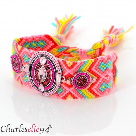 Bracelet manchette large tissé chevrons strass BRB12 Accessoires mode femme