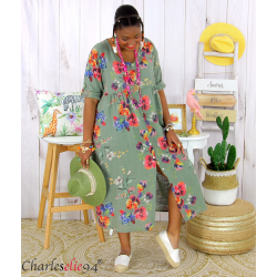 Robe longue été fleurie coton lin grandes tailles PAULO kaki Robe été grande taille