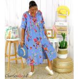 Robe longue été fleurie coton lin grandes tailles PAULO bleu jean Robe été grande taille