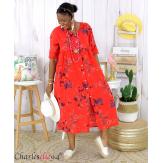 Robe longue été fleurie coton lin grandes tailles PAULO rouge Robe été grande taille
