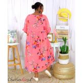 Robe longue été fleurie coton lin grandes tailles PAULO corail Robe été grande taille