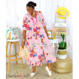 Robe longue été fleurie coton lin grandes tailles PAULO rose Robe été grande taille
