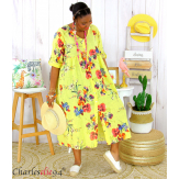 Robe longue été fleurie coton lin grandes tailles PAULO jaune Robe été grande taille