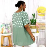 Tunique été coton lin femme grandes tailles DIVINA kaki Tunique femme grande taille
