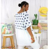 Tunique été coton lin femme grandes tailles DIVINA blanc Tunique femme grande taille
