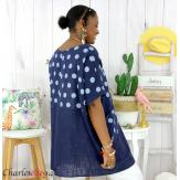 Tunique été coton lin femme grandes tailles DIVINA bleu marine Tunique femme grande taille