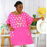 Tunique été coton lin femme grandes tailles DIVINA fushia Tunique femme grande taille