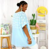 Tunique été coton lin femme grandes tailles DIVINA bleu ciel Tunique femme grande taille