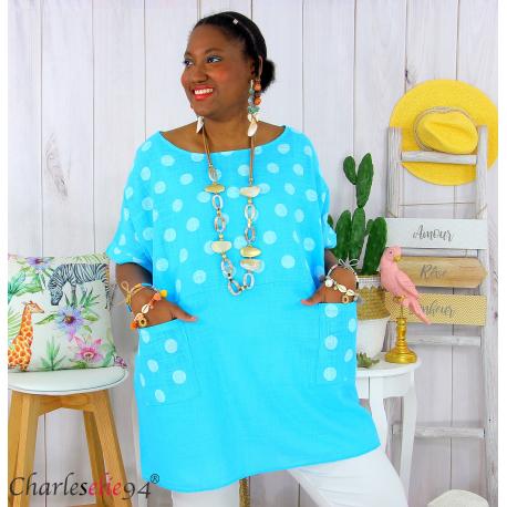 Tunique été coton lin femme grandes tailles DIVINA turquoise Tunique femme grande taille