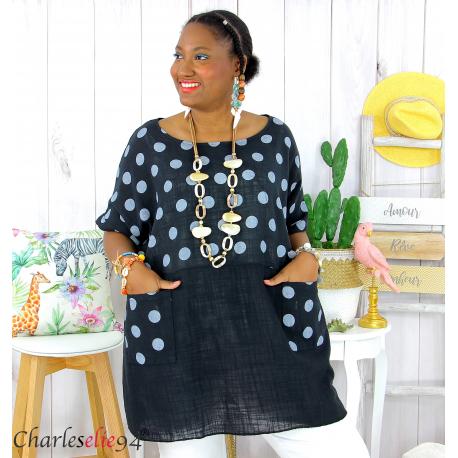 Tunique été coton lin femme grandes tailles DIVINA noir Tunique femme grande taille