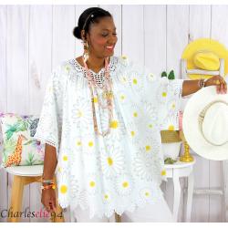 Tunique poncho été dentelle fleurs grandes tailles BELLA blanche Tunique été femme