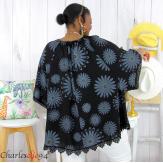 Tunique poncho été dentelle fleurs grandes tailles BELLA noir Tunique été femme