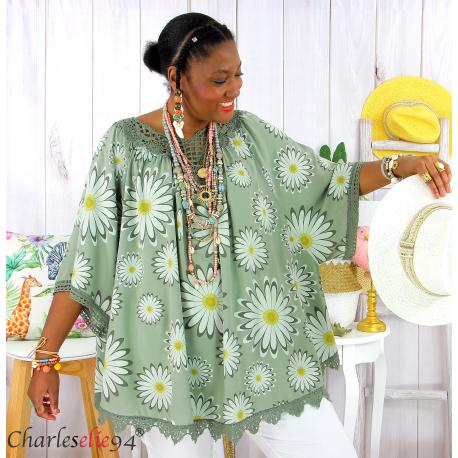 Tunique poncho été dentelle fleurs grandes tailles BELLA kaki Tunique été femme