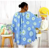 Tunique poncho été dentelle fleurs grandes tailles BELLA bleu jean Tunique été femme
