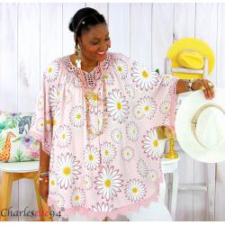 Tunique poncho été dentelle fleurs grandes tailles BELLA rose Tunique été femme
