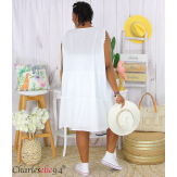 Robe tunique été dentelle broderie grande taille MUSE blanche Robe tunique femme grande taille