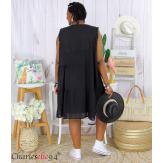 Robe tunique été dentelle broderie grande taille MUSE noire Robe tunique femme grande taille