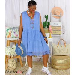 Robe tunique été dentelle broderie grande taille MUSE bleu jean Robe tunique femme grande taille