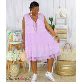 Robe tunique été dentelle broderie grande taille MUSE lilas Robe tunique femme grande taille