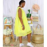 Robe tunique été dentelle broderie grande taille MUSE jaune Robe tunique femme grande taille