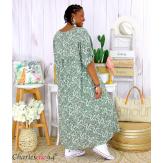 Robe longue été liberty grandes tailles JANET kaki Robe été grande taille