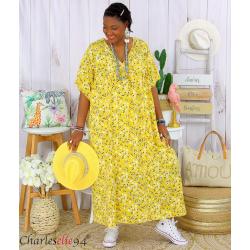 Robe longue été liberty grandes tailles JANET jaune Robe été grande taille