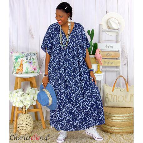 Robe longue été liberty grandes tailles JANET bleu marine Robe été grande taille