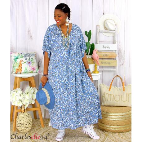 Robe longue été liberty grandes tailles JANET bleu jean Robe été grande taille