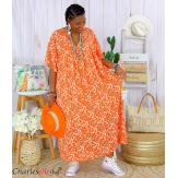 Robe longue été liberty grandes tailles JANET orange Robe été grande taille