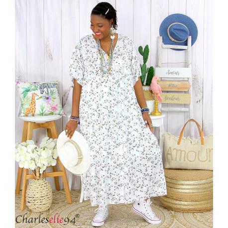 Robe longue été liberty grandes tailles JANET blanche Robe été grande taille