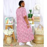 Robe longue été liberty grandes tailles JANET vieux rose Robe été grande taille