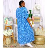 Robe longue été liberty grandes tailles JANET bleu royal Robe été grande taille
