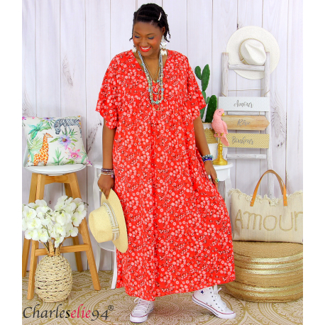 Robe longue été liberty grandes tailles JANET rouge Robe été grande taille